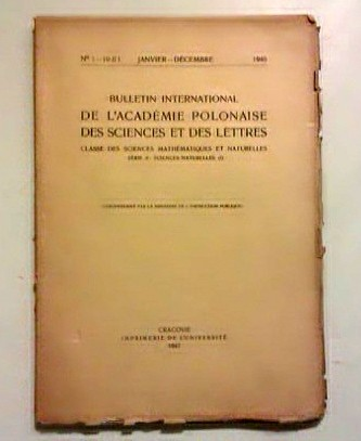 Bulletin International de l'Academie Polonaise des Sciences et des Letters. (Cracovie 1947).